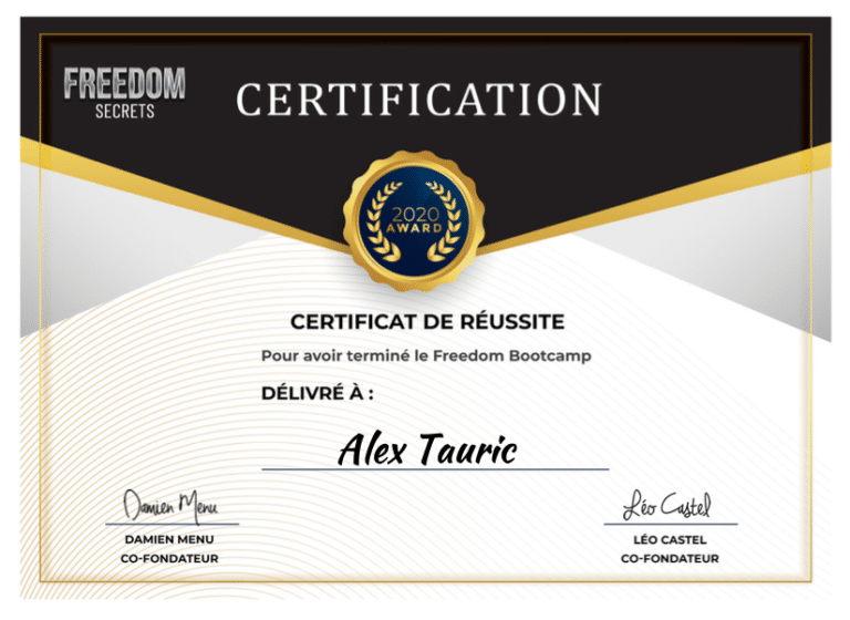 Certificat Formation Freedom Bootcamp